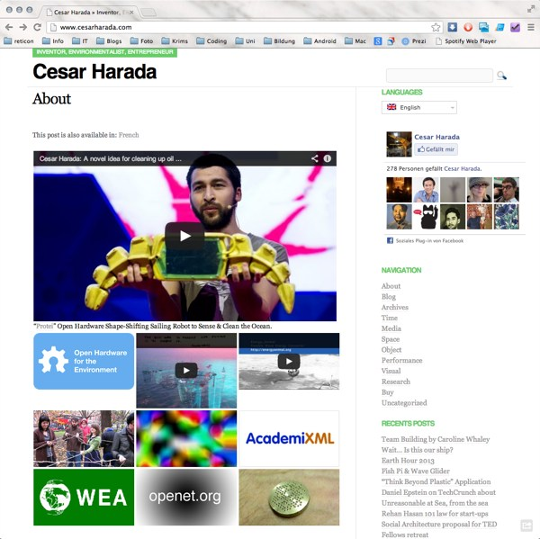 Cesar Harada, Website Screenshot